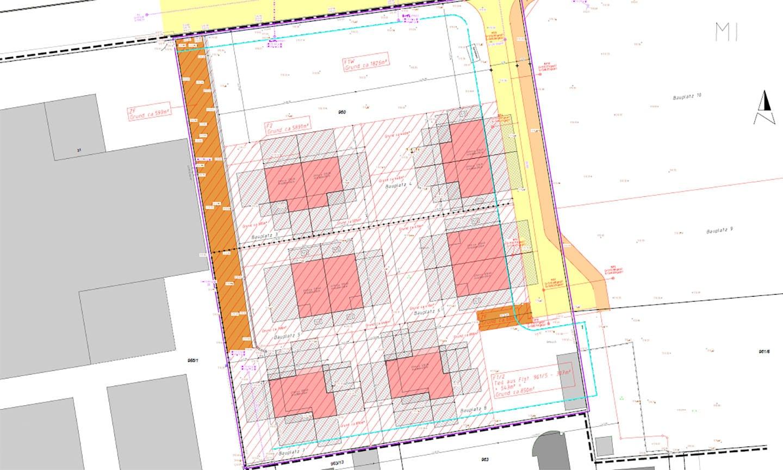 ARKITURA unser Wohnbauprojekt in Illertissen - Lageplan mit Anordnung der Häuser