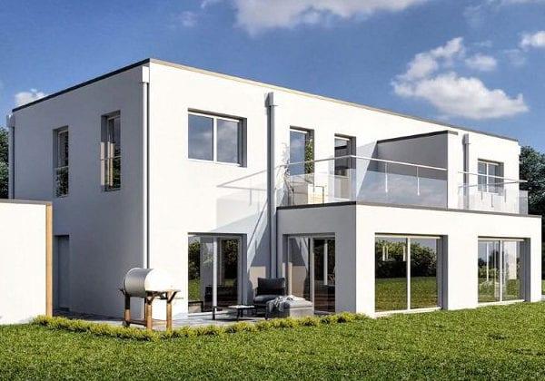 ARKITURA unser Wohnbauprojekt in Illertissen - 3D Visualisierung Doppelhaus Vorderansicht mit Garten