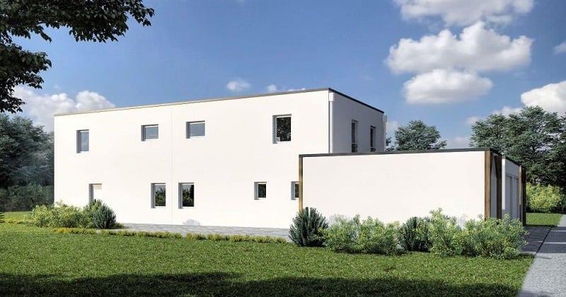 ARKITURA unser Wohnbauprojekt in Illertissen - 3D Visualisierung Doppelhaus Rückansicht mit Garage